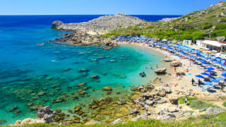 Strand Ladiko, Rhodos, Griechenland