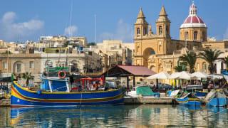 Fischerboote am Hafen von Marsaxlokk, Malta
