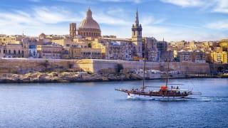 Kathedrale St. Paul und Hafen Marsamxett, Valletta, Malta