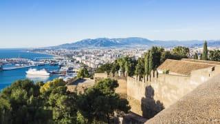 Ausblick vom Castillo de Gibralfaro, Málaga, Spanien