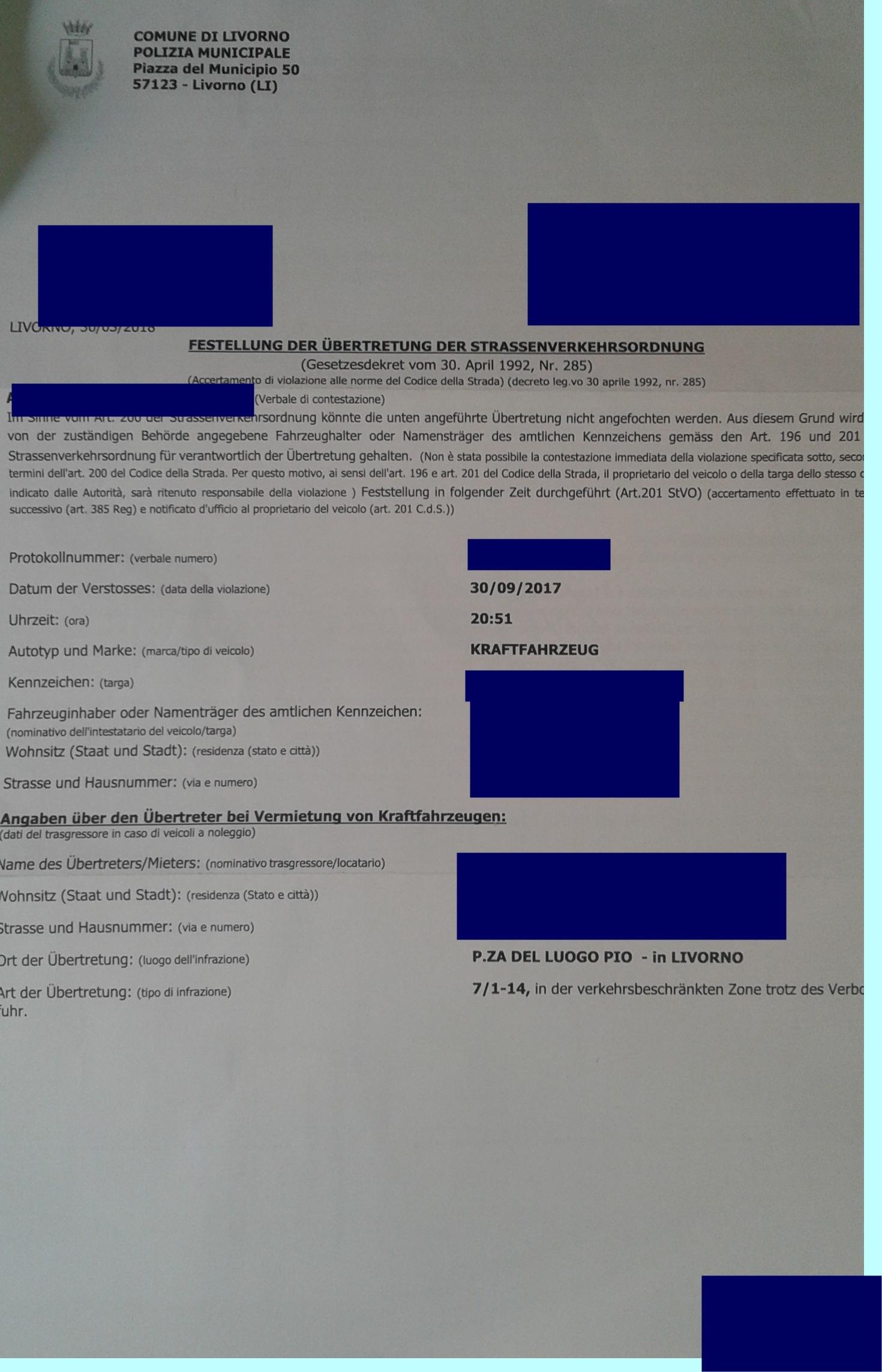 Bußgeldbescheid Aus Italien Italien Allgemein Forum Holidaycheck