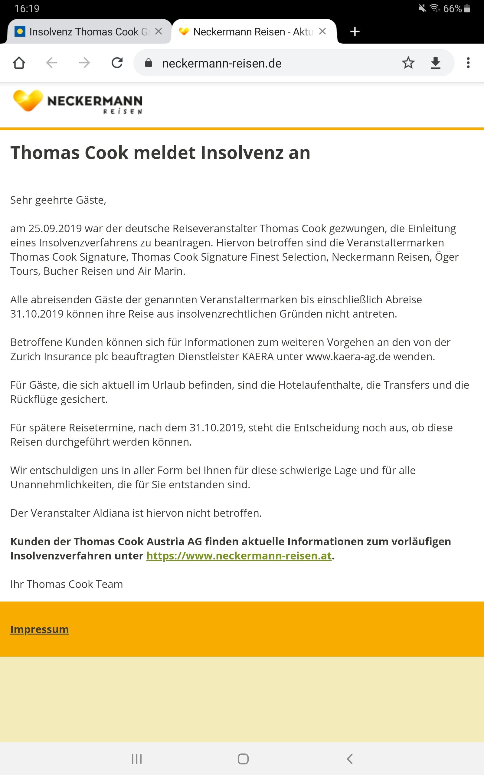 Insolvenz Thomas Cook Gruppe (Neckermann, Öger Tours, Bucher