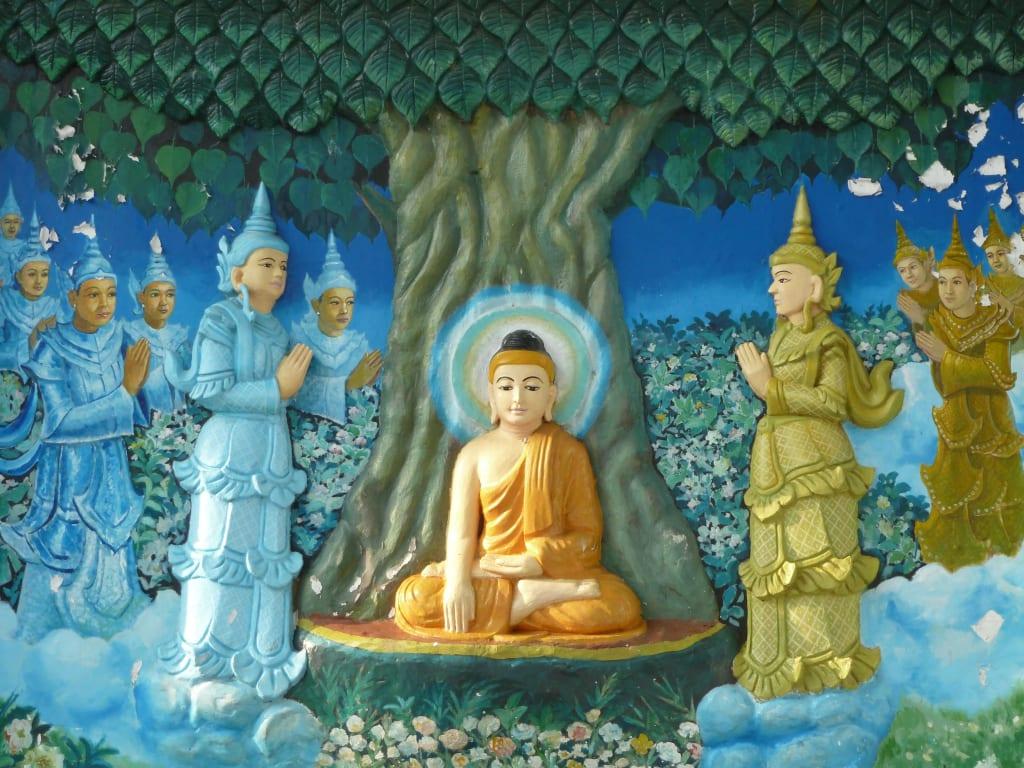bild wandbild buddha erlangt erleuchtung zu shwedagon pagode in yangon rangun. Black Bedroom Furniture Sets. Home Design Ideas