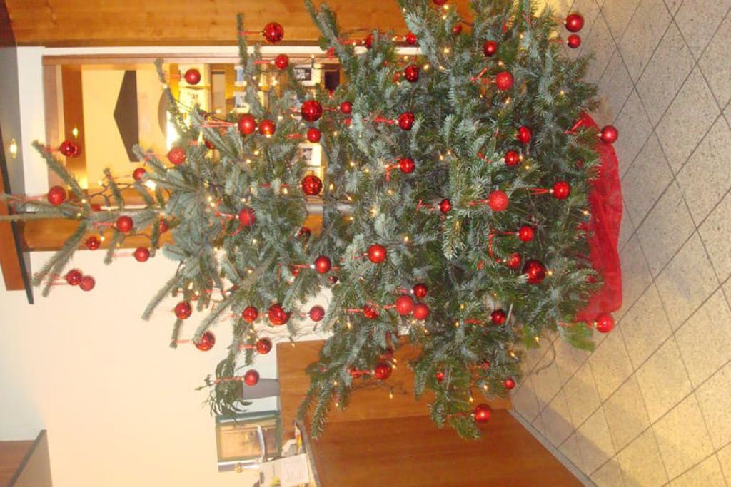 bild liebevoll geschm ckter weihnachtsbaum zu g nnewig. Black Bedroom Furniture Sets. Home Design Ideas