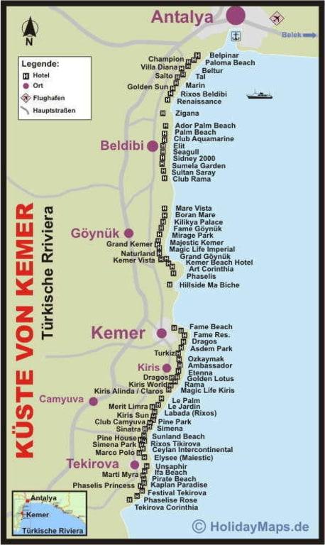 Bild Karte Der Kuste Von Kemer Zu Turkische Riviera In Turkische