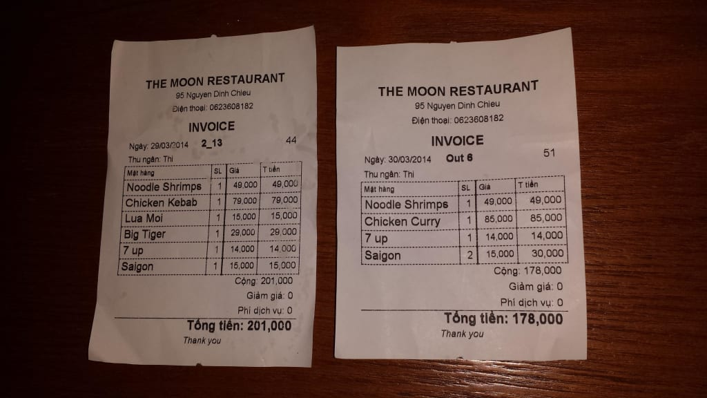 bild restaurant rechnung im moon zu restaurant the moon in phan thiet. Black Bedroom Furniture Sets. Home Design Ideas