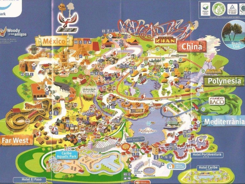 Bild plan des parks zu port aventura in salou - Port aventura plan ...