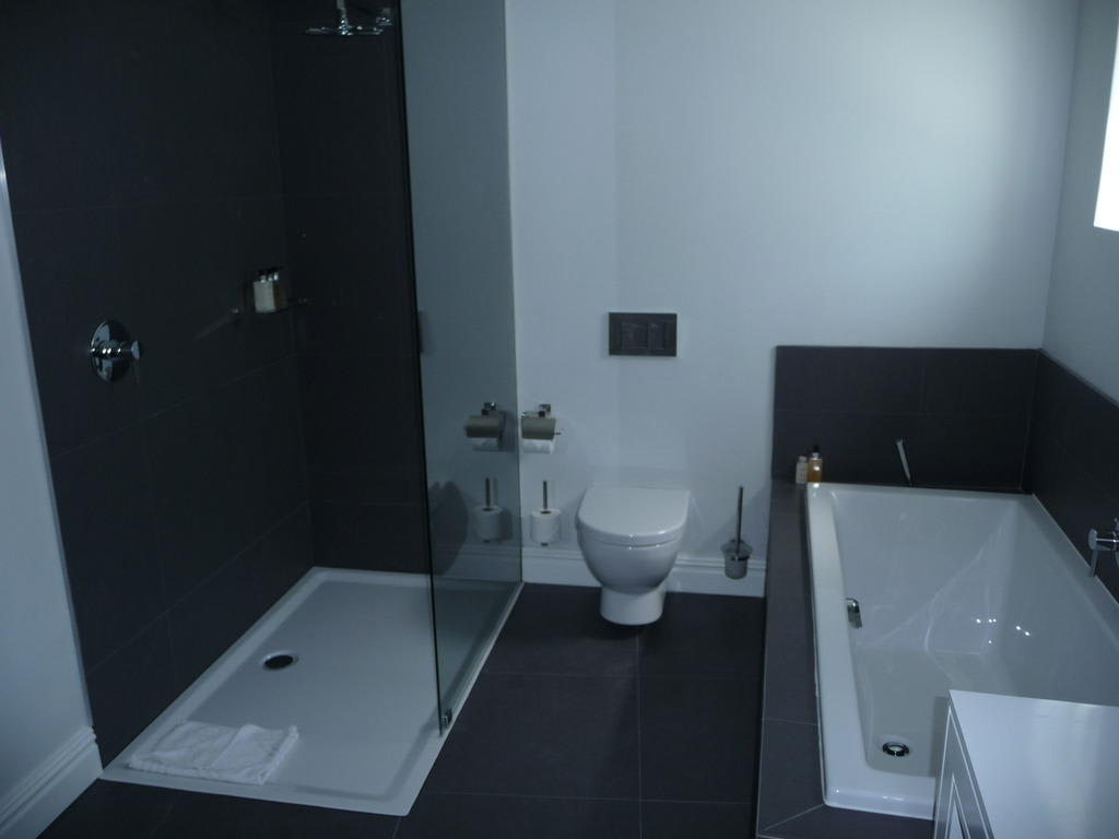 bild badewanne wc und dusche zu the three boutique hotel in. Black Bedroom Furniture Sets. Home Design Ideas
