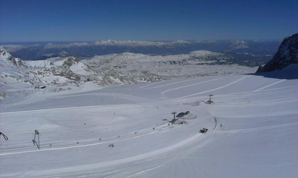Bild Skipisten Am Dachstein Gletscher Zu Skigebiet Filzmoos In