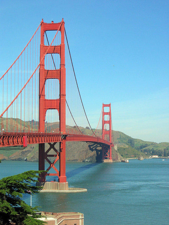 bild super rote br cke zu golden gate bridge in san francisco. Black Bedroom Furniture Sets. Home Design Ideas