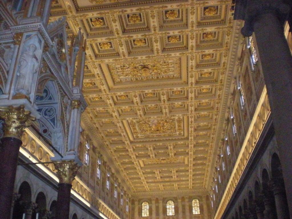 Bild Vergoldete Holz Kassettendecke Zu Basilika Sankt Paul Vor Den