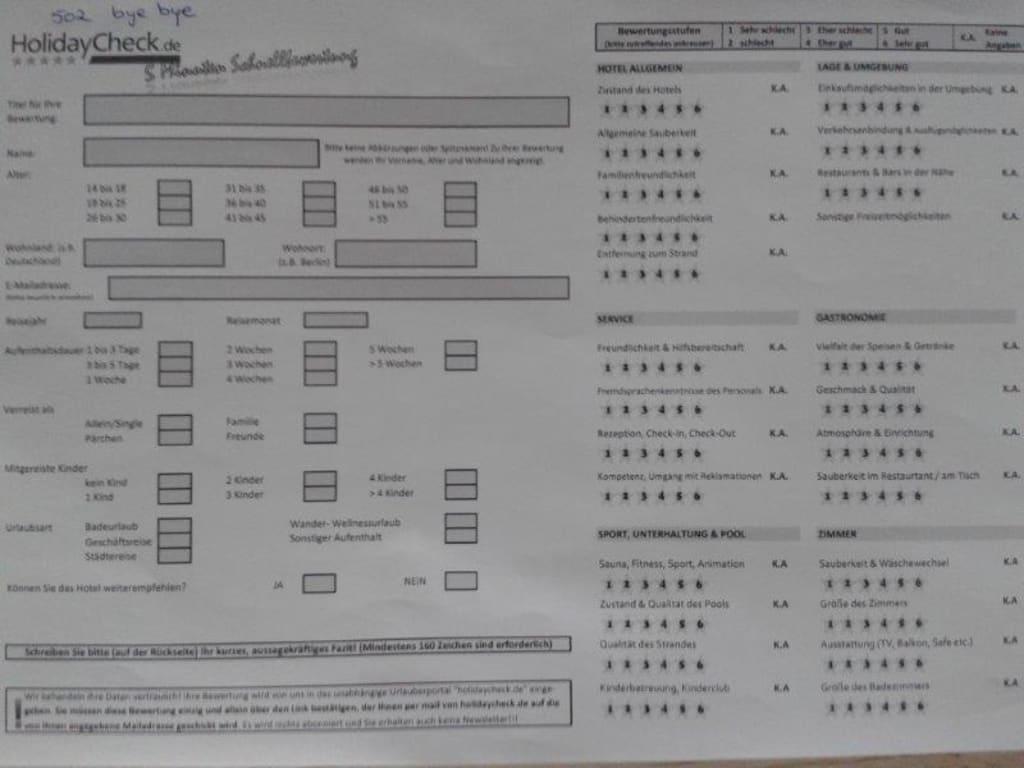 bild quothc bewertungsbogen f252r hotelg228ste als feedbackquot zu