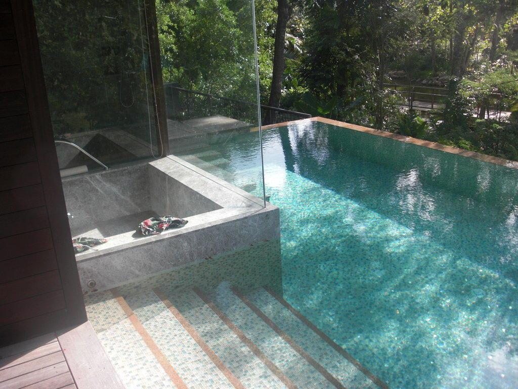 bild privatpool und badewanne hinter glas zu hotel four seasons resort seychelles in baie lazare. Black Bedroom Furniture Sets. Home Design Ideas