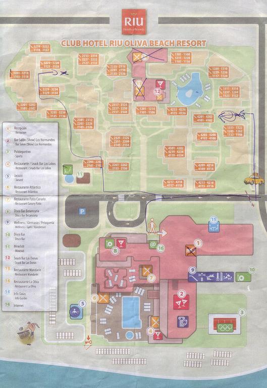 Bild plan der hotelanlage zu hotel riu oliva beach for Riu oliva beach village