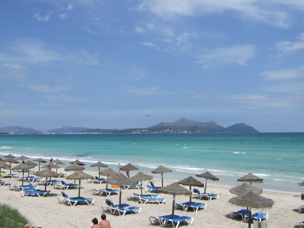 Bild strand mit blick zu port alcudia zu playa garden for Design hotel mallorca strand