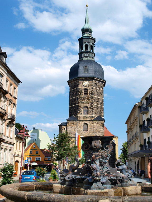 Bild Kirche/Marktplatz zu Bad Schandau in Bad Schandau