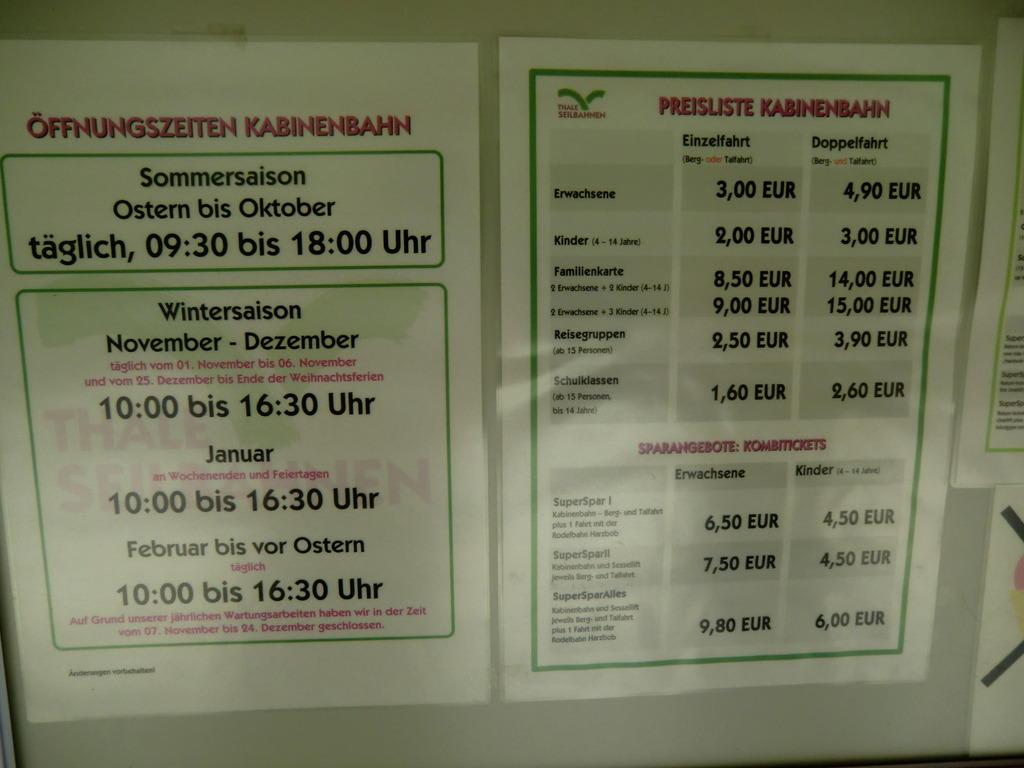 Bild Preisliste Sehr Ubersichtlich Zu Kabinenbahn Hexentanzplatz