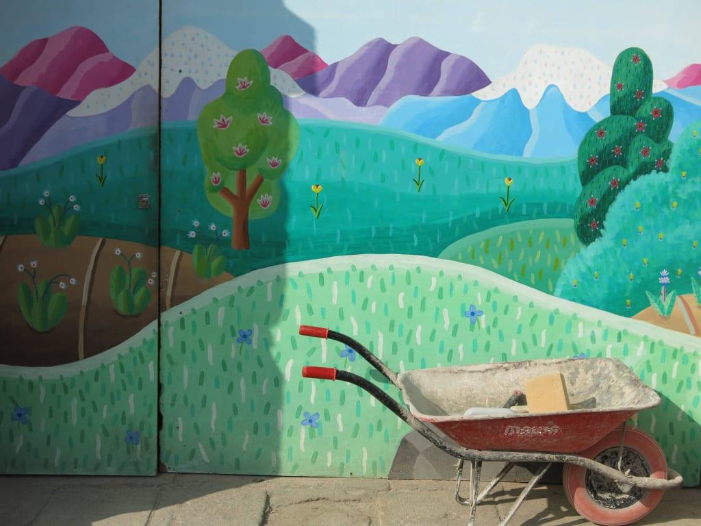 Bild Bunte Wand Bemalt Zu Castell De Montjuic In Barcelona