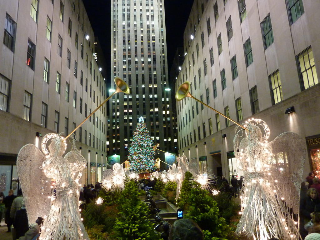 bild blick aufs rockefeller center zu weihnachtsbaum am. Black Bedroom Furniture Sets. Home Design Ideas
