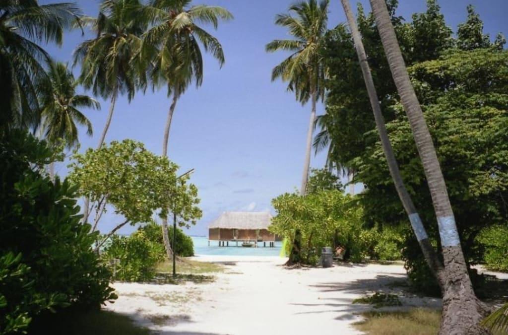 bild wasserbungalow zu malediven in malediven. Black Bedroom Furniture Sets. Home Design Ideas