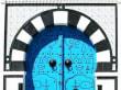 Weiß-Blau-Schwarze Tür