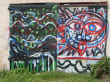 Graffiti auf Bootsschuppen