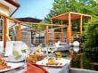 Terrasse am Koi-Teich - Hotel Feldhof