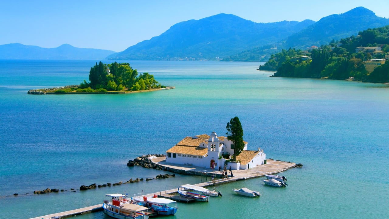 Insel Pontikonisi bei Korfu Stadt, Griechenland