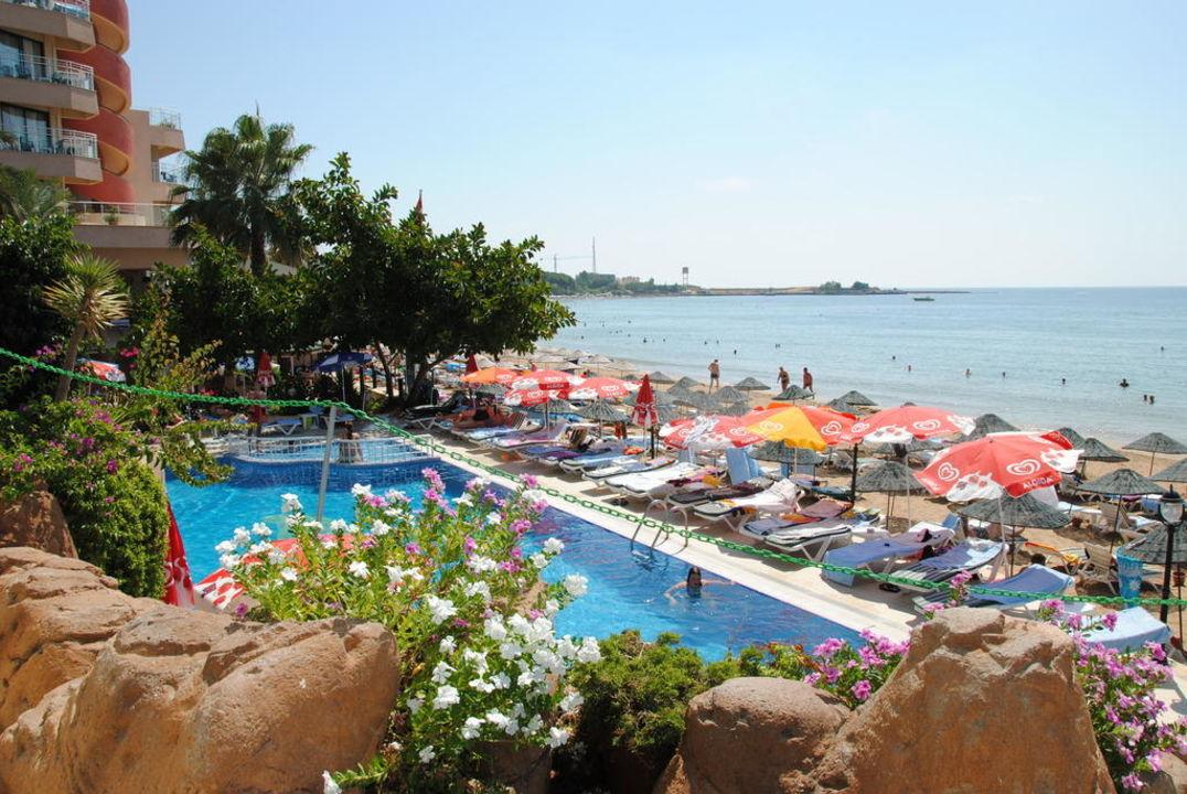 Seitlicher Poolblick Aska Hotel Just in Beach