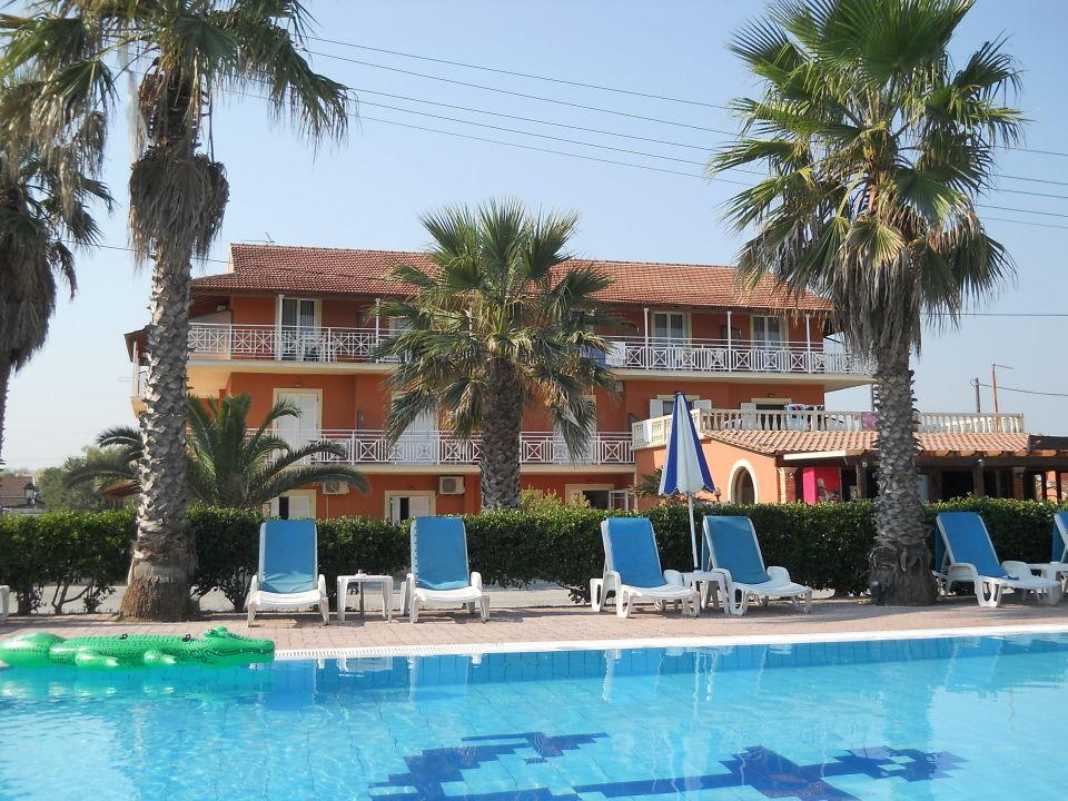 Frontansicht vom Pool aus Hotel Beach Star