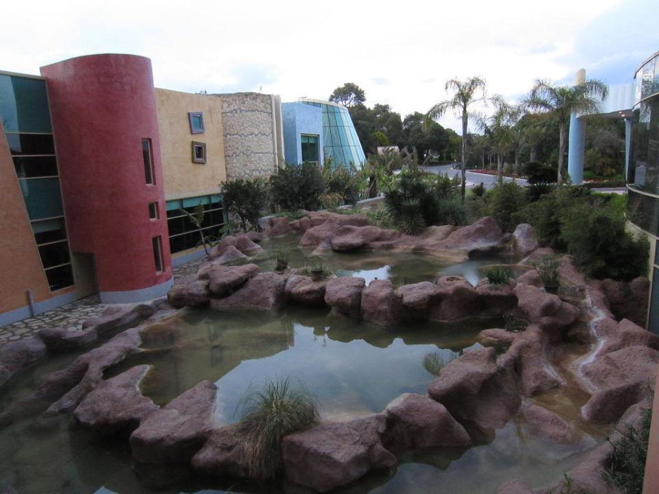 Blick Richtung Schwimmbad und Einfahrt Blue Waters Club