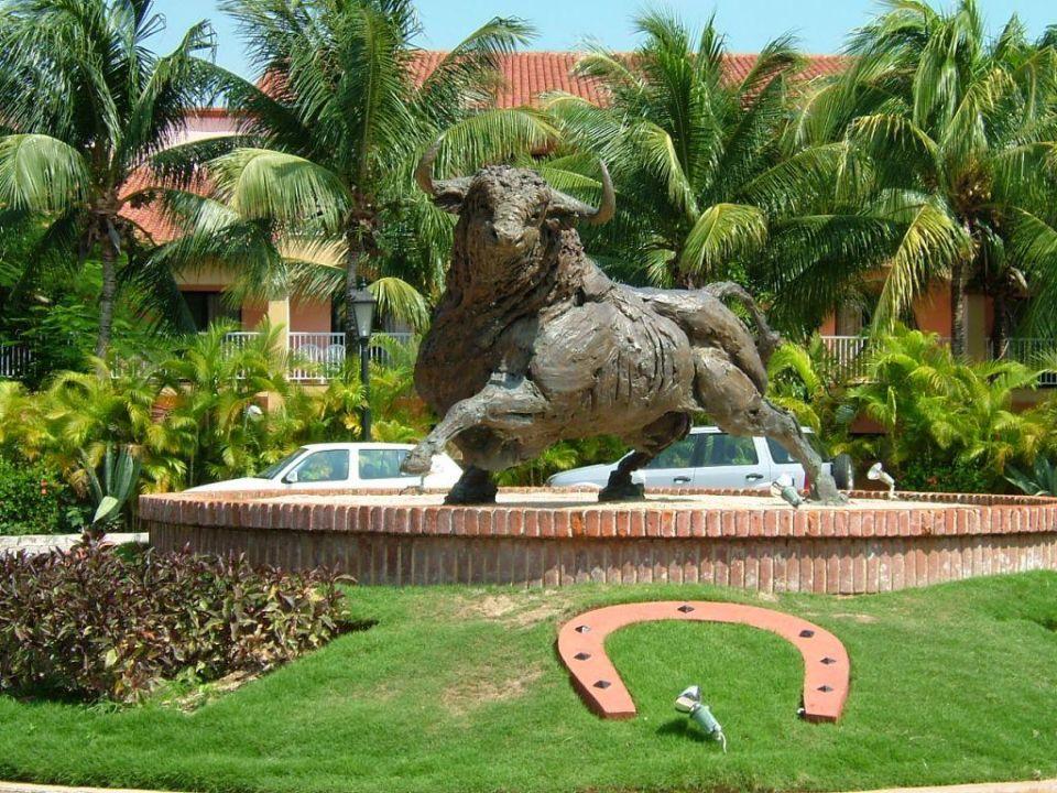 Stier am Eingang des RIU Yucatan Hotel Riu Yucatan