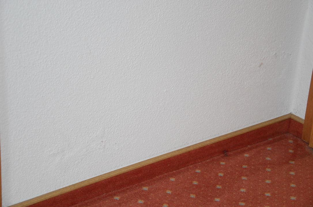 Feuchte Wand zum Badezimmer mit Wasserflecken\