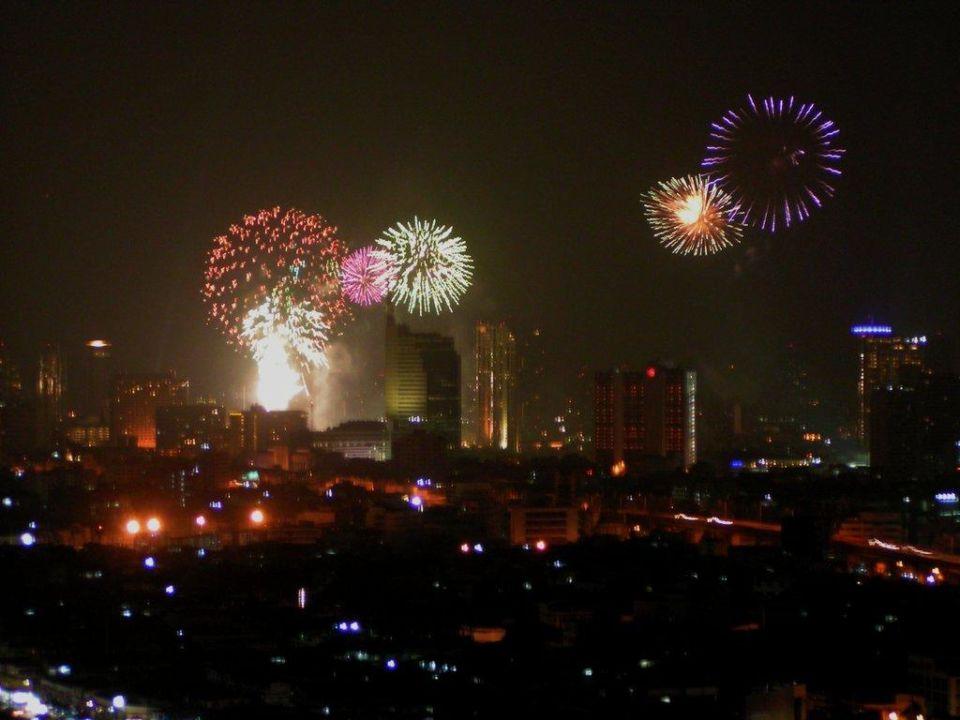 Feuerwerk über der Stadt Siam @ Siam Design Hotel Bangkok