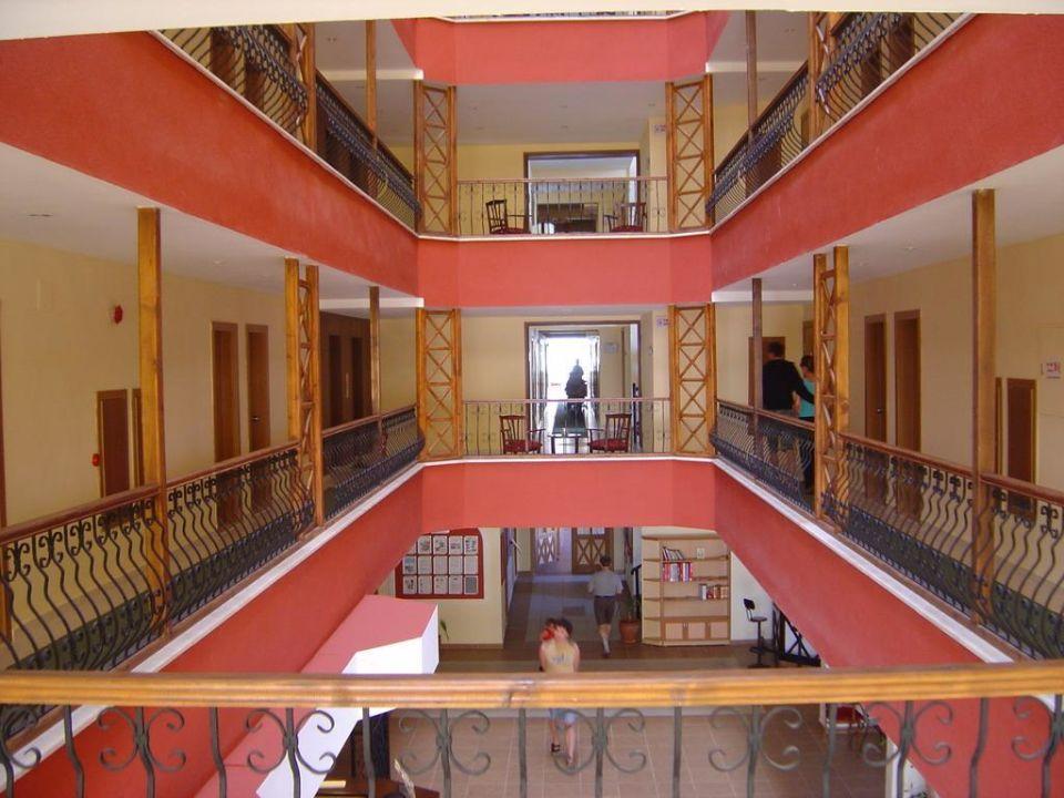 Stockwerke im Hauptgebäude, Blick von der Lobby nach oben Hotel Titan Garden