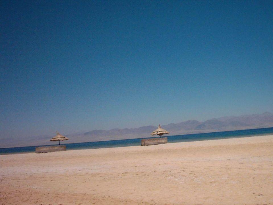 Unser Strand mit Blick auf die Küste Saudi Arabiens Hotel Tropicana Nuweiba  (geschlossen)