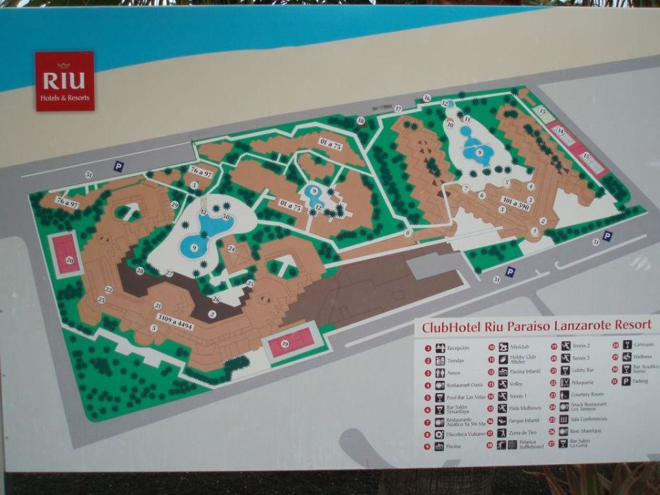 Plan Der Gesamten Anlage Hotel Riu Paraiso Lanzarote Resort Puerto