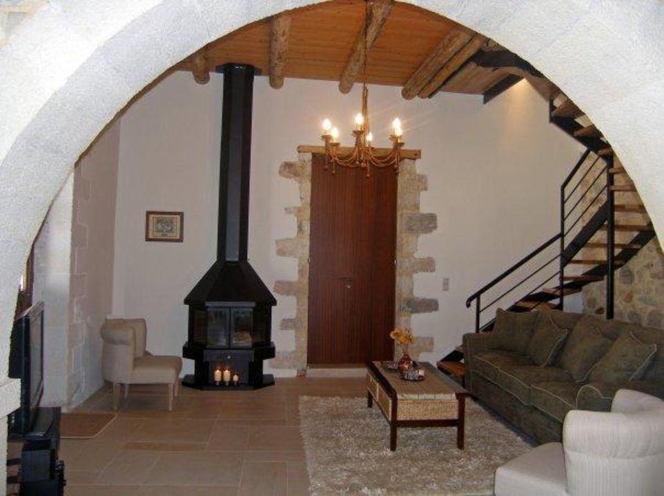 Living room with sofa, TV, DVD, fireplace Olga's Filoxenia