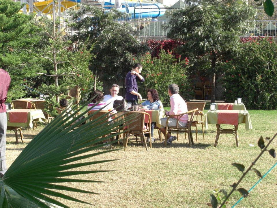 Frühstück im Garten Trendy Aspendos Beach Hotel