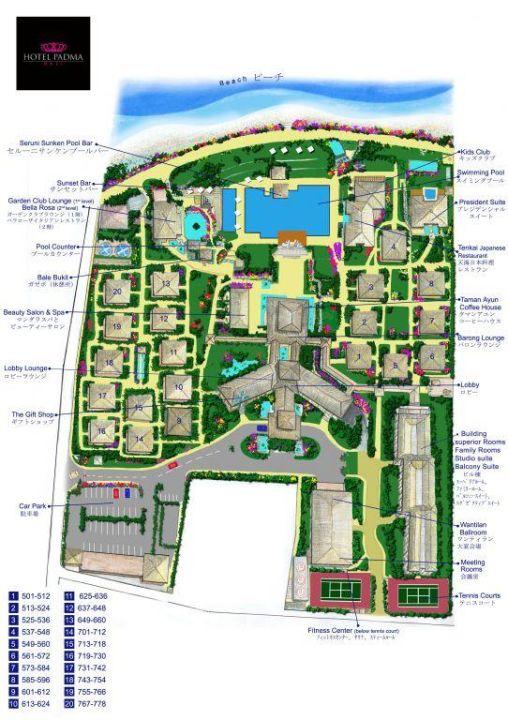 Skizze der Hotelanlage Padma Resort Legian