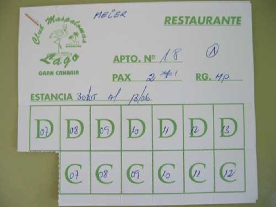 Die Speisegutscheine Hotel Maspalomas Lago