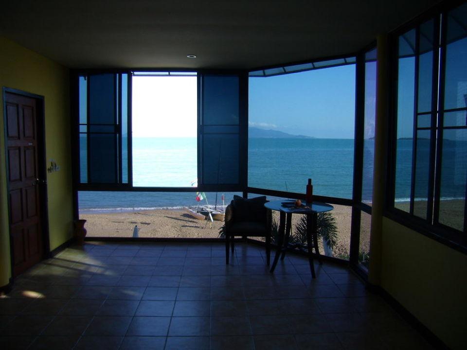 Blick vom Bett auf das Meer B1 Villas & Spa
