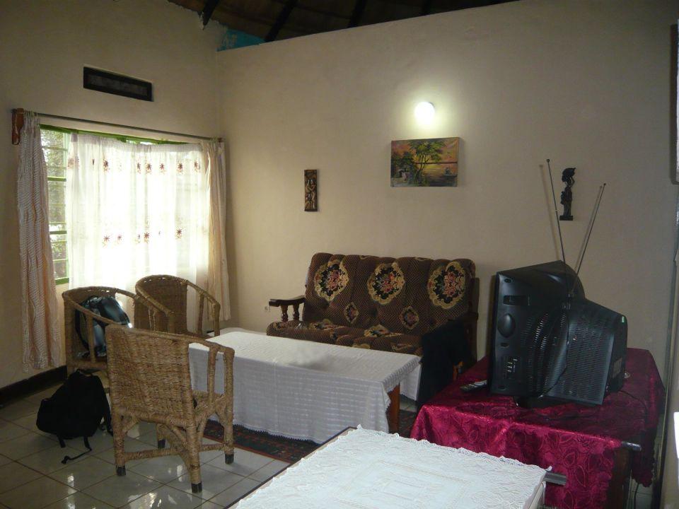 Wohnzimmer mit Fernseher und Kühlschrank\