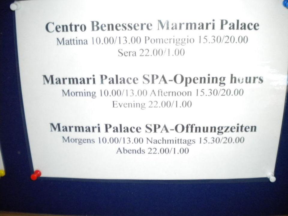 Öffnungszeiten Wellness, Spa und Fitnesscenter TUI MAGIC LIFE Marmari Palace by Atlantica