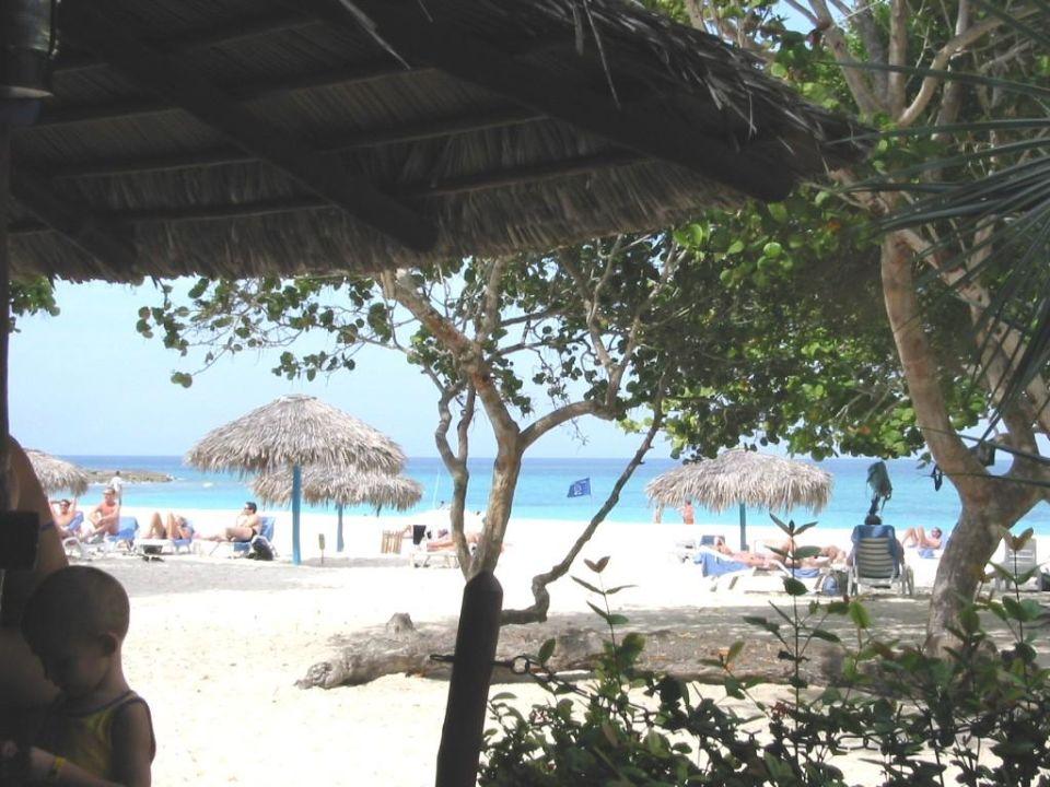 am Strand vom Hotel mit Schattenplätzen Sol Rio De Luna y Mares