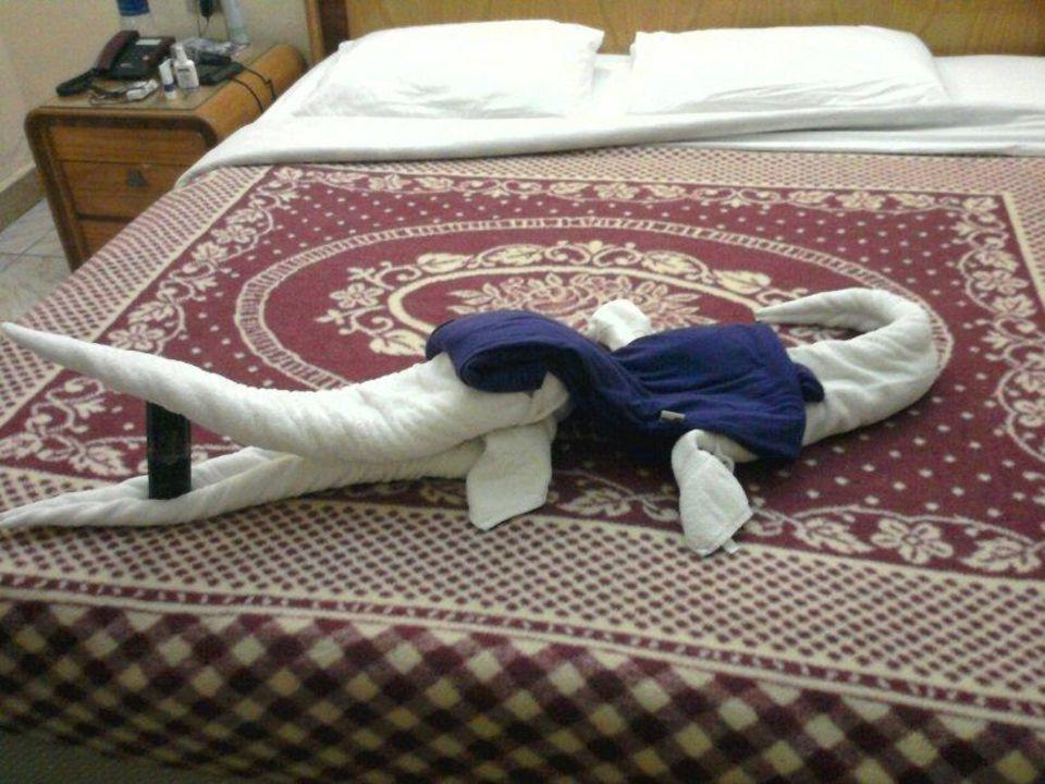 Handtuchtier in altbakenem Zimmer Hotel Hor Palace