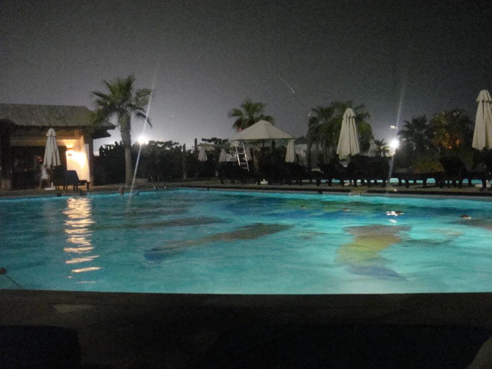 Das helle Licht kommt vom Hafen in Hintergrund Radisson Blu Resort Sharjah