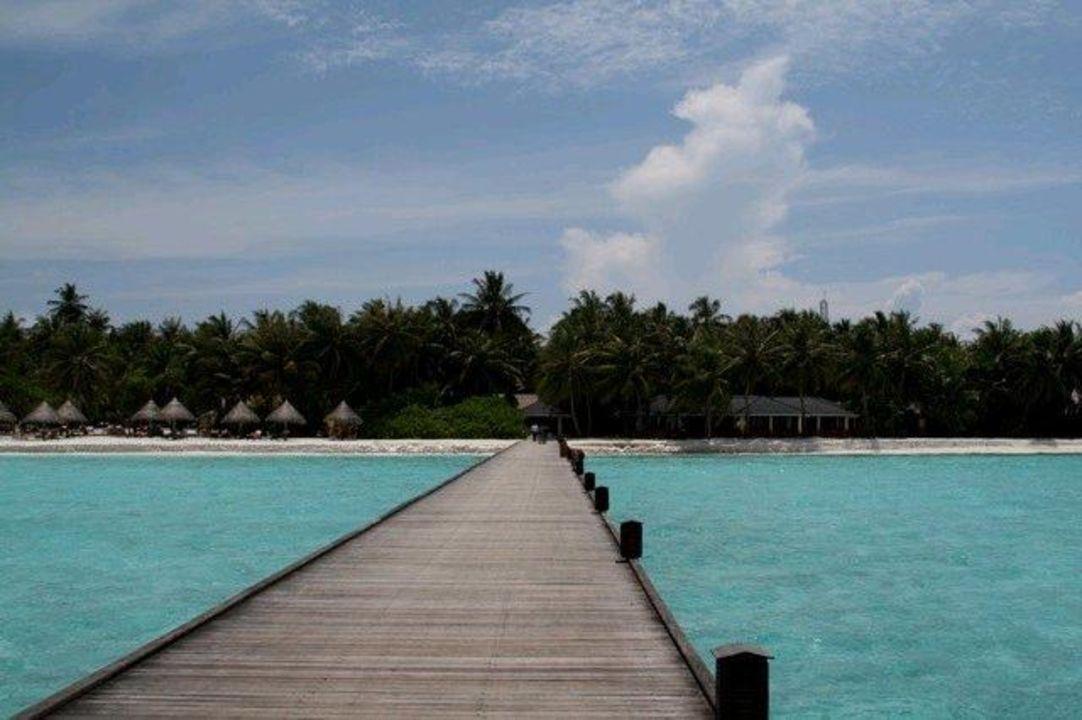 Bei Ankunft geht es über diesen Steg Sun Island  Resort & Spa