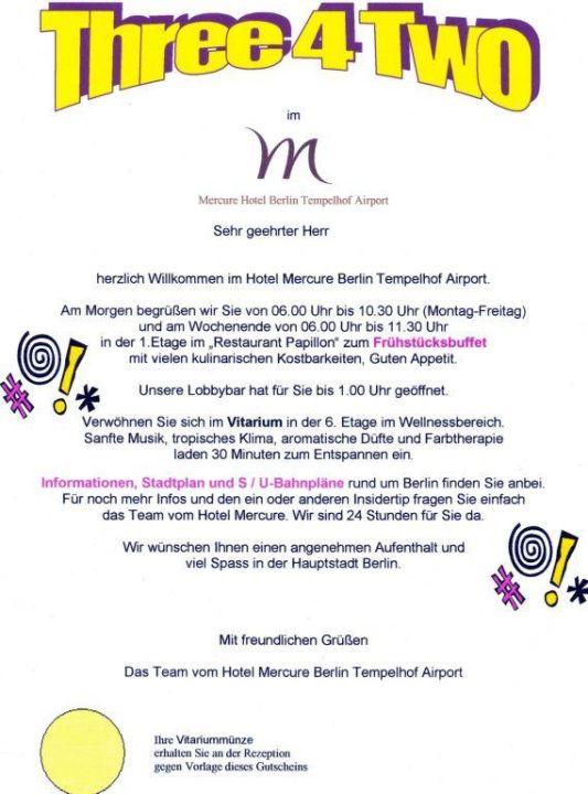Willkommensbrief Mercure Hotel Berlin Tempelhof Berlin Neukölln