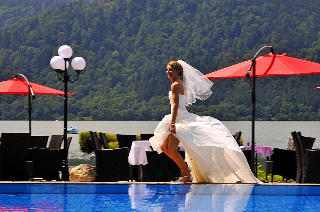 Hochzeit am Pool Seehotel Schlierseer Hof